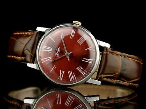 ZIM POBEDA 2608 15Jewels Vintage Soviet Wristwatch Red Dial SERVICED USSR CCCP ☭