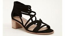 New! Torrid Black Suede Braided Strap Block Heel Shoe Sz 11 Wide NWT $69.90