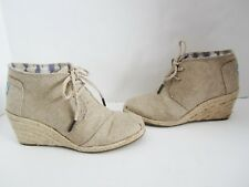 3ebb7e264ca4 Toms Burlap Lace Up Desert Wedge Booties Ankle Boots 6.5 New
