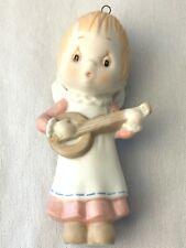 1984 Hallmark Betsey Clark Porcelain Angel w/Guitar Christmas Ornament Vintage