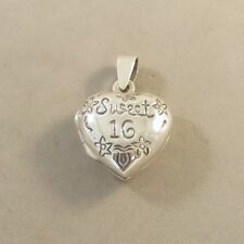 .925 Sterling Silver Small SWEET 16 HEART Picture LOCKET Pendant NEW 925 LK49
