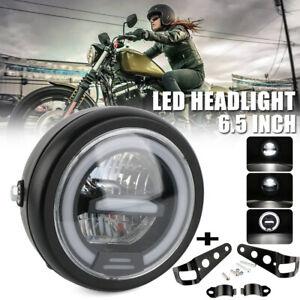 Universal 6.5'' Motorcycle LED Headlight &Bracket For Harley Bobber Cafe Racer