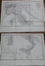 1836 2 Mappe Italia Carte Routiere de L'Italie Etats limitrophes Duvotenay Lapie