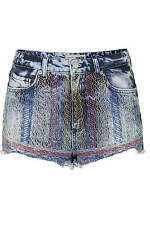 Topshop MOTO Folk Embroidered Hotpants Shorts - Size 8/W26 - RRP £34 - Brand New