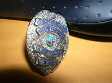 "COMPTON Captain Fire Dept 1"" Mini Silver Badge PIN Tie Tac 1"""