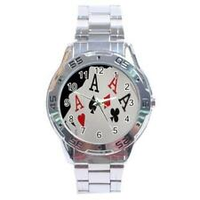 Four of a Kind Aces Playing Cards Stainless Steel Analogue Watch Poker