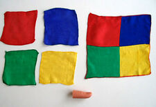New Red Yellow Blue Green Blendo Thumb Tip Magic Trick Small Silks Become One