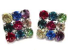 SoHo® Ohrstecker Ohrringe quadrat geschliffene Kristalle multicolor kunterbunt