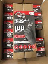 Grease Monkey Black Nitrile Gloves - Large 100 Pack
