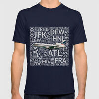 Delta Airlines Lockheed L-1011 with Airport Codes - T-Shirt (Mens or Womens)