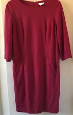 Chico's Ponte Knit Dress Sz 0.5 Solid Red 3/4 Sleeve Career Work Church, Paxton