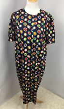 Vintage Adrianna Papell Boutique Blue Button Front Geometric Dress Plus Sz 18
