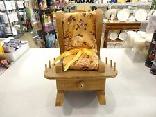 WoodenTiny Rocking Chair Pin Cushion HoldsThread Needles Pin W/Drawer Sewing Aid