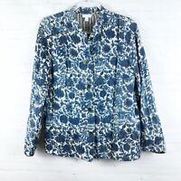 J.Jill Women Size S Blue Floral Mandarin Collar Cotton Button Down Blazer Jacket