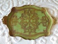 "vintage italian FLORENTINE WOOD TOLE TRAY handles green gilt 22"" x 15 1/4"""