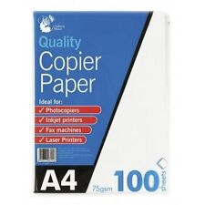 100 Sheets A4 75gsm Paper Bright White Printer Copier Office Home Copy FREE POST
