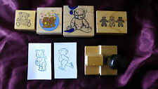 Teddy Bear Bears Rubber Stamp Lot Vintage Rare PSX Baby