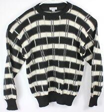 Bullock & Jones VTG 100% Alpaca Black White Pullover L/S Sweater Large Peru Warm