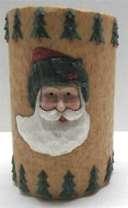 Christmas Tumbler St Nick Santa Claus and Fir Trees on Rustic Carved Wood Look