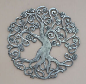 Unusual Giant Silver Tree of Life Wall Art Unusual Silver Black Tree of Life Han