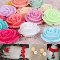 50pcs 15mm Resin Rose Flower Flatback Appliques For Phone/Crafts DIY 6 Color