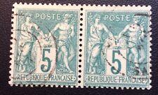 France N° 64 5 C Vert Oblitéré TB En Paire Cote 135€