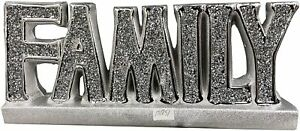 SILVER CRUSHED DIAMOND FAMILY SPARKLE BEAUTIFUL DISPLAY SIGN FIGURE Home Decor