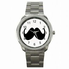 Mustache Club Moustache Party Design Stainless Steel Watch