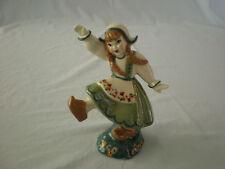 Vintage Ceramic Arts Studio Dancing Dutch Girl in Green & White Costume & Hat