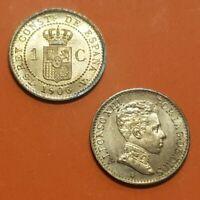 ESPAÑA 1 CENTIMO 1906 * 6 SLV ALFONSO XIII SC+ moneda de bronce KM.726 Spain UNC