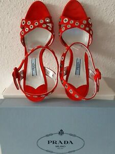 PRADA Sandals Red With Silver Grommets Size 38 (5 UK) NEW