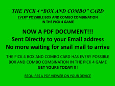 "Lottery System Pick 4 ""BOX""and""Combo"" Card, PDF DOC Every  Possible Combination"