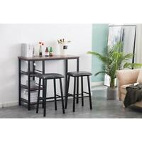 High Grade 3 Piece Pub Table Set Bar Stool Dining Chairs Counter Height Kitchen