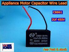 CBB61 Appliance Motor Capacitor Wire Lead 2uF 450VAC 50/60Hz (C592) - Brand New