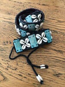 Vintage Boho BELT Cowrie Shell aqua stone beads on fabric with black cord ties