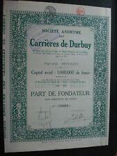 LOT 2 ACTION ET PART FONDATEUR BELGIQUE CARRIERES DE DURBUY 1924 GRAND FORMAT