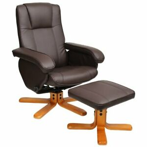 Evre Brown Faux Leather Padded Reclining Swivel Arm Chair with Foot Stool