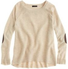 J. CREW Wool Ivory Beige Warm spun Swingy Brown Leather Elbow Patch Sweater XS
