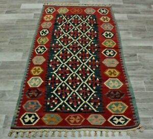 Cappadocia Vintage Kilim Rug Turkish Hand Knotted Anatolian Tribal Carpet 3x6ft.