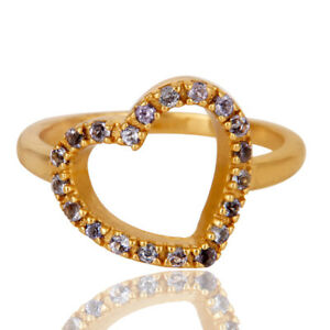 Tanzanite Gemstone 18k Gold Plated Silver Heart Design Lover's Ring Jewelry
