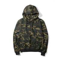 New Men's Camouflage Thin Fleece Hoodie Sweatshirt Loose Hooded Pullover Jumper