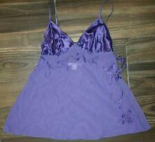 Victoria's Secret 100% Silk Cami Chemise XS Solid purple Embroidery Split Side