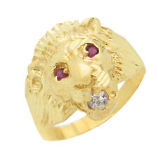 Men's Lion Head Ring 10K Yellow Gold Lion Face Ring