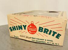 4 Shiny Brite VTG XMAS Ornaments Mica Glitter Striped Box Included RARE SHAPES