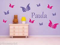 Wandtattoo ♥ 10 Schmetterlinge mit Namen ♥ Wunschnamen ♥ Kinderzimmer ♥ 2-farbig