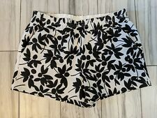 J Crew Shorts Pull On Elastic Waist Black and White Floral Sz 6