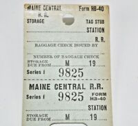 Vintage Maine Central Railroad Storage of Hand Baggage Receipt - Unused