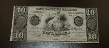 1850 the Bank of Camden South Carolina Obsolete Ten ($10) Dollar Note!