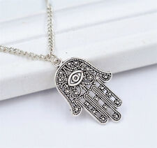Pendant Amulet Evil Eye Charm Necklace Fashion Silver Hamsa Hand Of Fatima