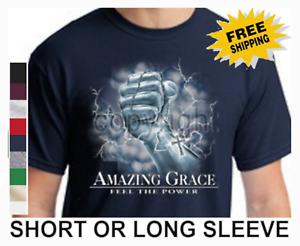 Religious Christian Amazing Grace Feel The Power Of God Cross Men's T Shirt